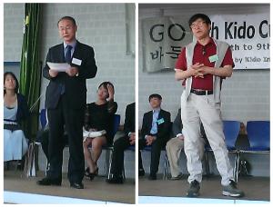 Begrüßung durch Jang Si Jeong(l) und Park Jang-Hee