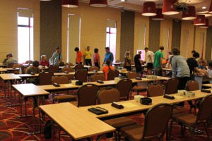 9x9-Turnier: die Bretter stehen bereit